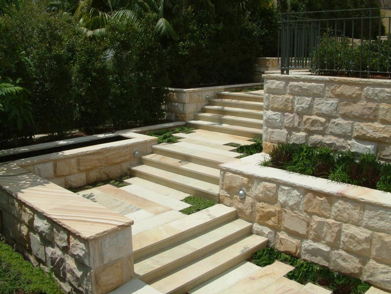 Sandstone steps and paving